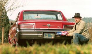 Original bumper stickers on classic car