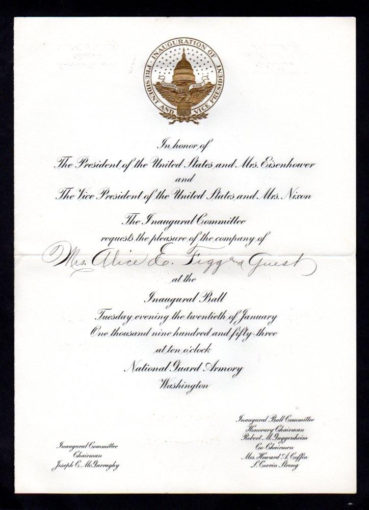 Dwight Eisenhower Inaugural Invitation