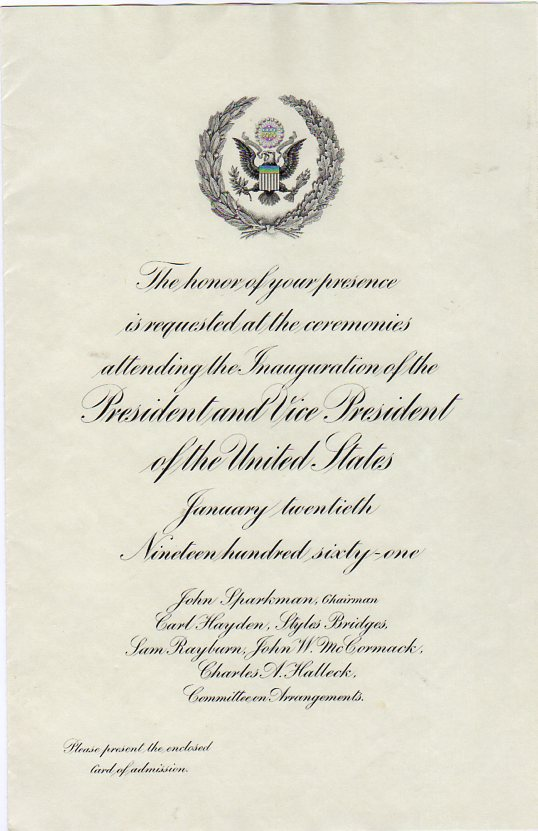 Franklin Roosevelt Inaugural Invitation